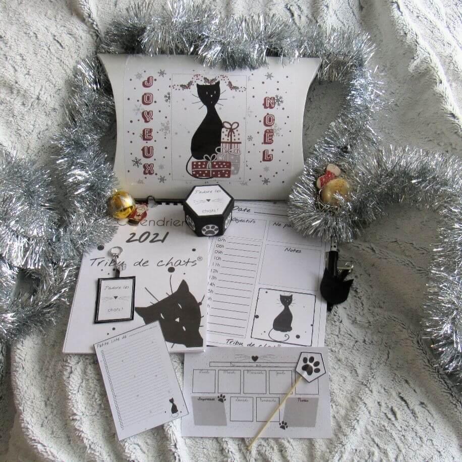 Coffret cadeau de Noël Organisation pour amoureux des chats, chat assis de profil, Tribu de chats