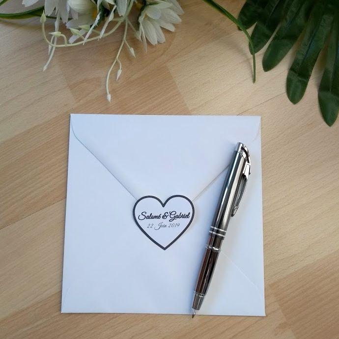 Etiquette autocollante de mariage, prénoms dans un coeur, classique noir et blanc, photo exemple, Tribu de chats
