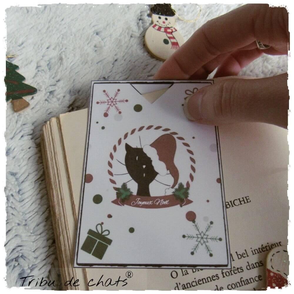 Marque page Tribu de  chats pour des soirées lecture cocooning en attendant Noël