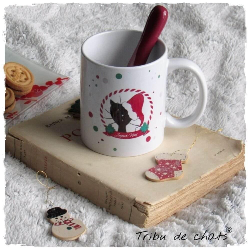 Mug de Noël chat avec un bonnet de Père Noël Tribu de chats